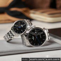 Đồng hồ cặp đôi SRWATCH SR1075.1101TE đen chính hãng