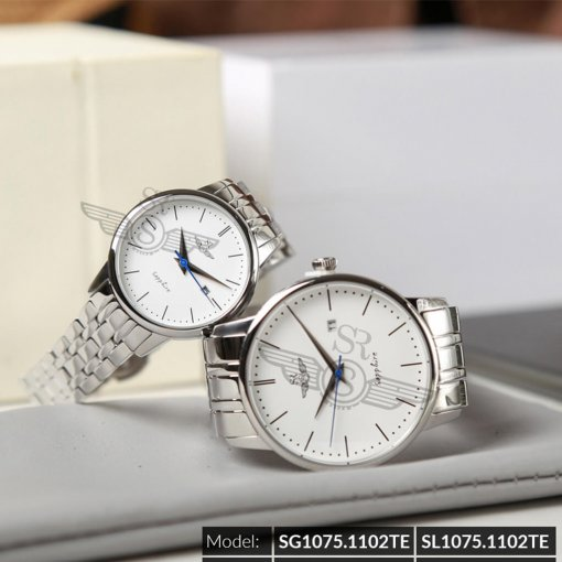 Đồng hồ cặp đôi SRWATCH SR1075.1102TE trắng chính hãng